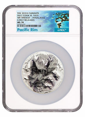 2017 Cook 7 Summits Everest U High Relief 5 oz Silver $25 NGC MS70 ER SKU50387