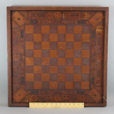 Exceptional Antique 1938 Folk Art Marquetry Inlaid Cards, Dice Dominos Gameboard