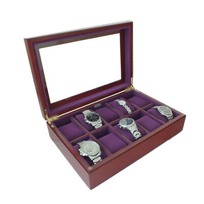 Limited Edition Luxury Walnut Wooden Glass Display 10 Watch Box Case Purple