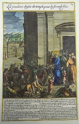 1593 NATAL Wierix Collaert Vos Galle PASSION TABLEAU Vendors Chased from Temple