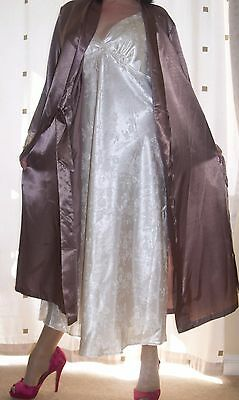 CLEARANCE Beautiful bronze silky satin ivory lace cuff wrap - dressing gown