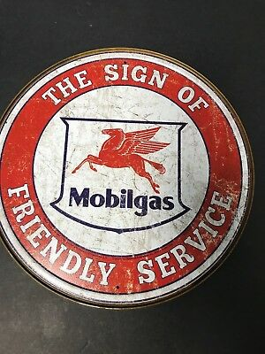 Mobilgas Gas Oil Friendly Service Round Tin Metal Sign Wall Decor Vintage Look