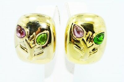 $600 5.00Ct Natural Tourmaline 2 Stone Flower Chunky Earrings .925 Silver
