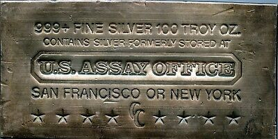 U.S. Assay Office 100 oz .999 Fine Silver Bullion Bar RN280