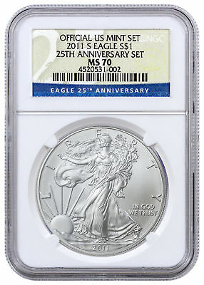 2011-S 1 Oz American Silver Eagle - From 25th Anniversary Set NGC MS70 SKU24784