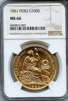Amazing 1961 NGC MS 66 Peru G 100s Gold Coin RN282