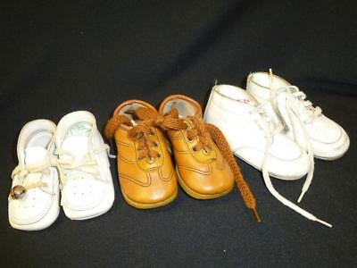 3 PAIR Vintage LEATHER BABY SHOES Childrens Doll High Top White Leather Brown 3