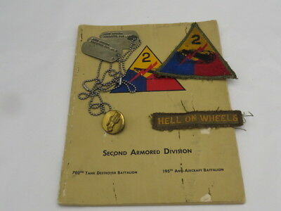 Original 2Nd Ad & 702N Td Bn Grouping-Book-Patch-Id Tags-Td Collar Disk