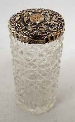 Small Vintage Decorative GLASS Bottle with SILVER LID (Hallmark Degraded)  - E32