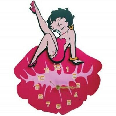 """Betty Boop Sitting on Large Lips Kiss 15"""" Die-Cut Cordless Wall Clock NEW SEALED"""