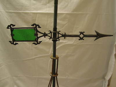 1930-40's  IPC GOSHEN,IN GLASS TAIL LIGHTNING ROD BALL WEATHERVANE ARROW