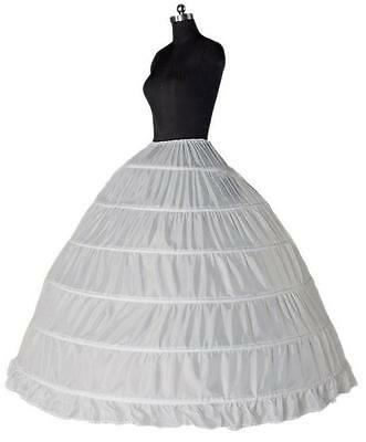 002-27 - Plus Size 3X 4X 5X Ball Gown 6 Hoops Wedding Crinoline Petticoat White