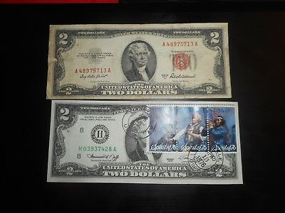 1976 Series $2 Two Dollar Bill w/ Stamp circulated ,1953 lot of 2