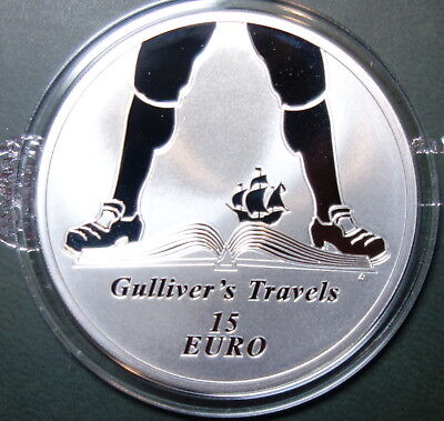 "Ireland 15  Euro Silver Proof Coin 1917. Jonathan Swift. ""gulliver's Travels"""