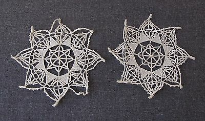 2 Antique Cyprus Lace Flower Shaped Appliques For Dolls Or Crafts  Unused  2