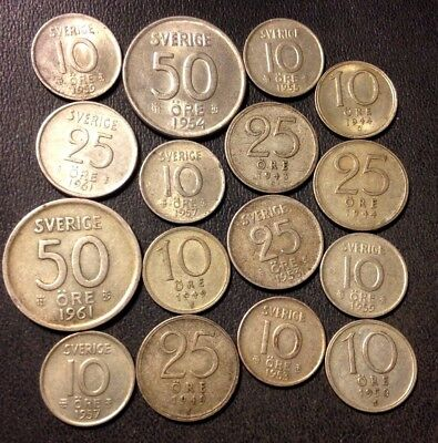 Vintage Sweden Silver Coin Lot - 16 Excellent Coins - Lot #D11