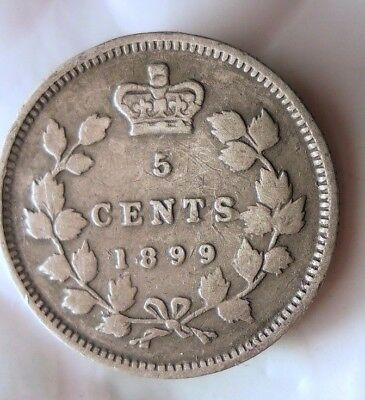 1899 CANADA 5 CENTS - High Value Scarce Date Silver Coin - Lot #D11