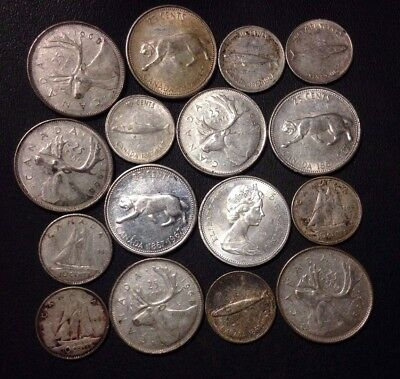 Old Canada Coin Lot - 16 Quality SILVER COINS - Lot #D11