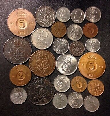 Vintage Sweden Coin Lot - 1899-PRESENT - 25 Great Coins - Lot #D11