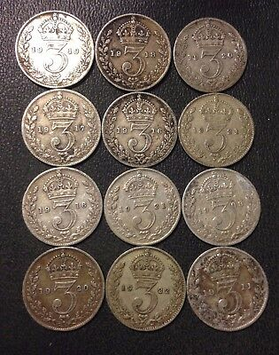 Vintage Great Britain Coin Lot! 12 Silver 3 PENCE Coins- 1904-1922 - Lot #D11