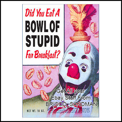 Fridge Fun Refrigerator Magnet  DID YOU EAT A BOWL OF STUPID FOR BREAKFAST?