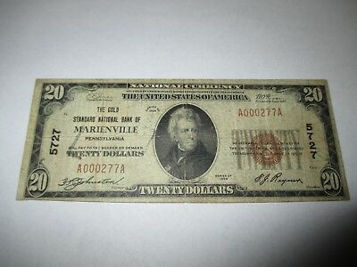 $20 1929 Marienville Pennsylvania PA National Currency Bank Note Bill Ch. #5727