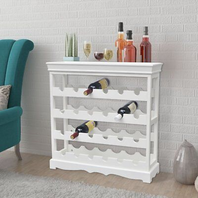 Wine Rack Cabinet Bottles Glass MDF Holder Storage Display Organiser White