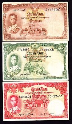 Thailand 1950s 3 Notes 10 , 20 , & 100 Baht King in Field Marshal's Uniform