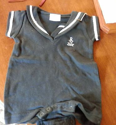 Vintage But New Him-Baby Nautical Sailor Baby Romper Size 0-1 Month