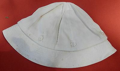 Vintage Childs Fine White Cotton Hat That Unbuttons To Make It A Beannie Hat
