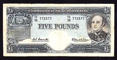 Australia  5 Pounds ND 1960 Coombs Wilson Reserve Bank R. 50 Note VG 772577