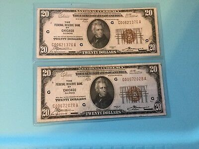 1929 $20 National Bank Notes - Lot of Two-Chicago, Illinois