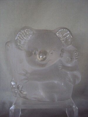 Vintage Koala Bear With Baby Viking Glass Paperweight Figurine Hand Made
