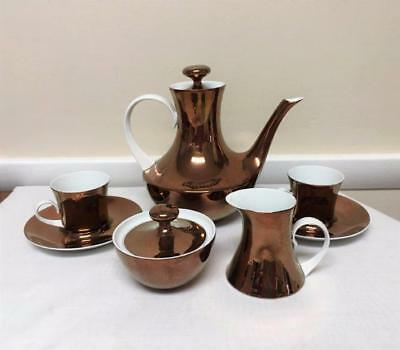 1950's Block Bidasoa Copper Lustreware  Coffee Demitasse Set Atomic Modernist