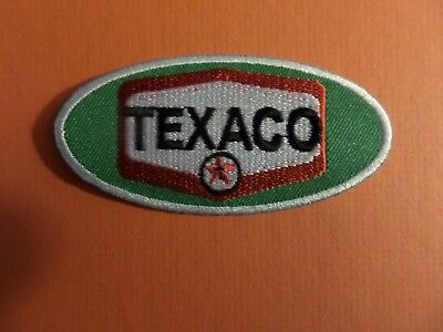 TEXACO OVAL BLACK &SILVER & RED   Embroidered 1-3/4 x 3-1/2 Iron On PATCH