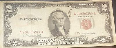 1953 B $2 Dollar Bill Old Us Note Legal Tender Paper Money Red Seal