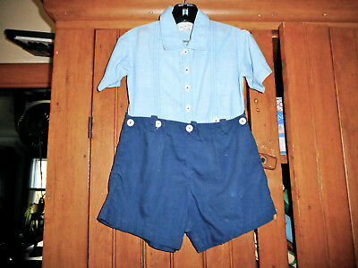 VINTAGE 1930's BLUE CHILD'S JACK TAR TOG JUMPER SHORTS W/PEARL BUTTON CLOSURES