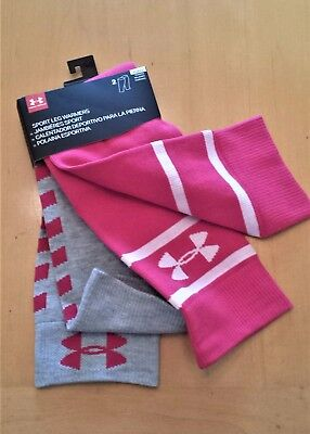 NWT UNDER ARMOUR Women's Sport Leg Warmers Pink/Grey 2-Pack ONE SIZE FAST SHIP