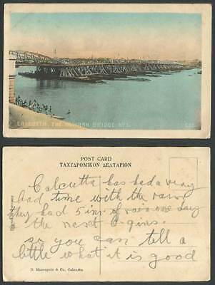 India Old Hand Tinted Postcard The Howrah Bridge No.1 Boats Calcutta River Scene