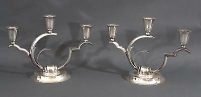 Pair Vintage Salvador De La Serna Mexico Modernist Sterling 3-Light Candelabras