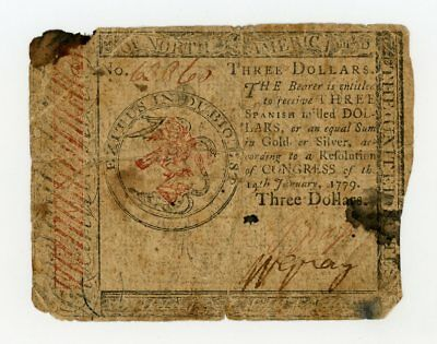 (CC-89) January 14th, 1779 $3 Continental Currency Note - NO RESERVE!
