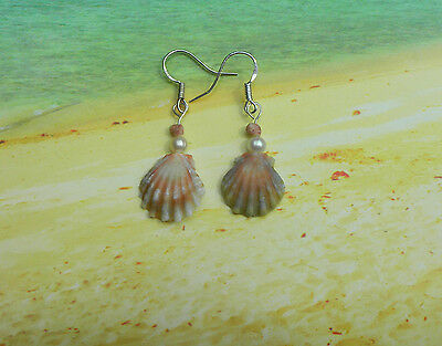 Beautiful (Pecten Langfordi) Moonrise & Kahelelani Earrings in Silver. Handmade