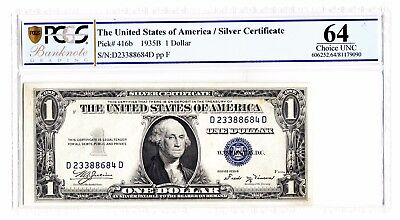 US 1935 B Silver Certificate Dollar $1 PCGS 64 Choice UNC Note P. 416b