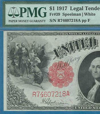 $1.00 Fr.39 1917 Red Seal Legal Tender United States Note Pmg Xf45  No Rerserve