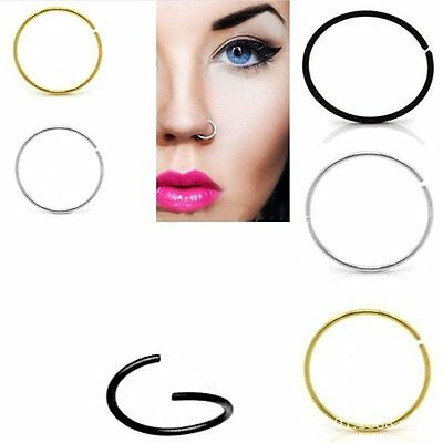 Surgical Steel Thin Small Nose Ring Hoop Cartilage Piercing Studs Sanwood 0.8mm/