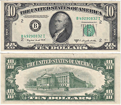 1950-C $10 Federal Reserve Note F-2013-B New York Crisp Uncirculated