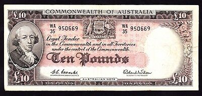 Australia 10 Pounds ND 1960 Note R. 63 Coombs Wilson Fine Note