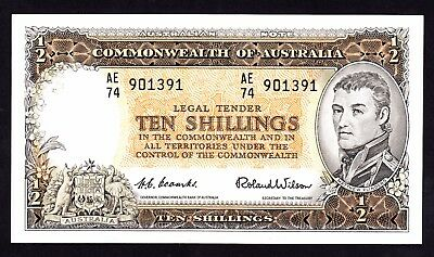 Australia 10 Shillings ND 1954 Coombs Wilson R 16 VF+ Note AE74 901391
