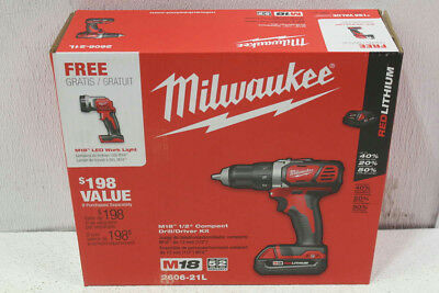 "Milwaukee M18 Cordless 1/2"" Compact Drill/Driver Kit With LED Light 2606-21L"