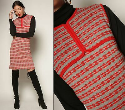 vtg 60s soft 100% WOOL red + gray ITALY lattice knit wiggle pencil sweater dress